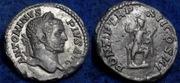 Denario de Caracalla. PONTIF TR P XII COS III. Virtus, galeada, estante a dcha. Ceca Roma. Image