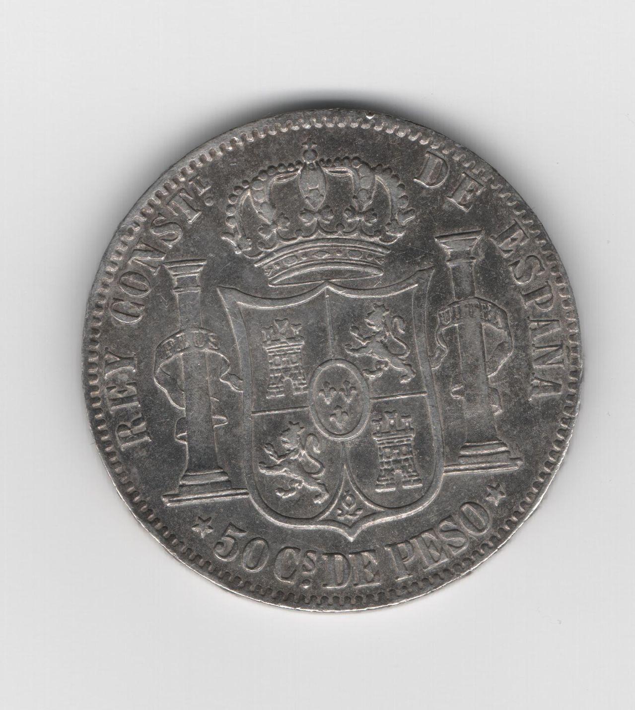 50 Centavos de peso 1885 Alfonso XII - Manila 50_Ctv_Peso_1885_Manila_B_12_93_gr_29_6mm