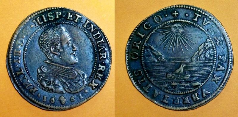 Jetón de Felipe IV. Amberes. 1661. La Paz, fuente de Prosperidad. Nacimiento de Carlos II. 100_3029