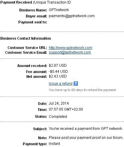 1º Pago de GptNetwork ( $2,87 ) Gptnetworkpayment