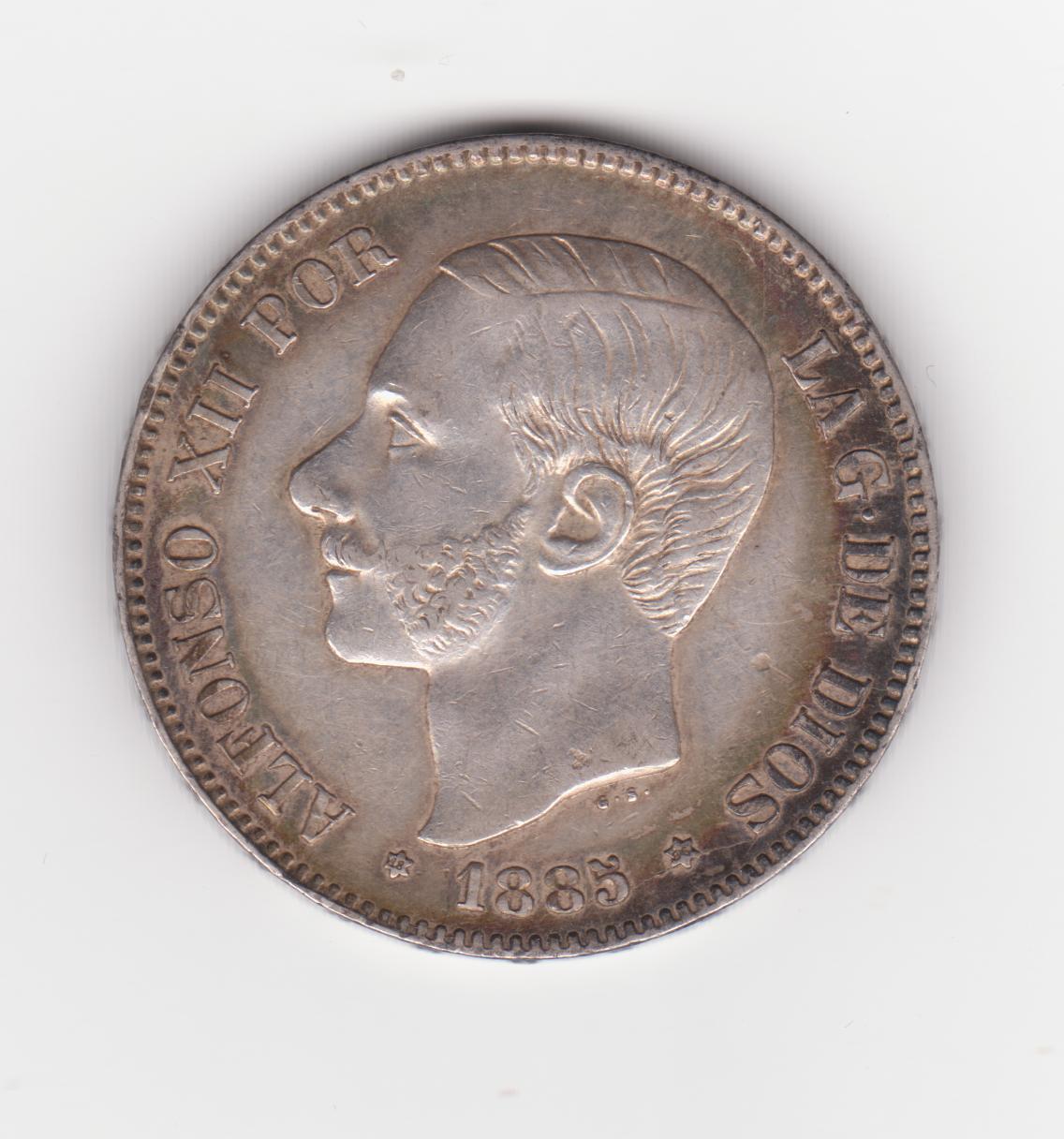 5 pesetas 1885 18*86*, Alfonso XII 5_pesetas_1885