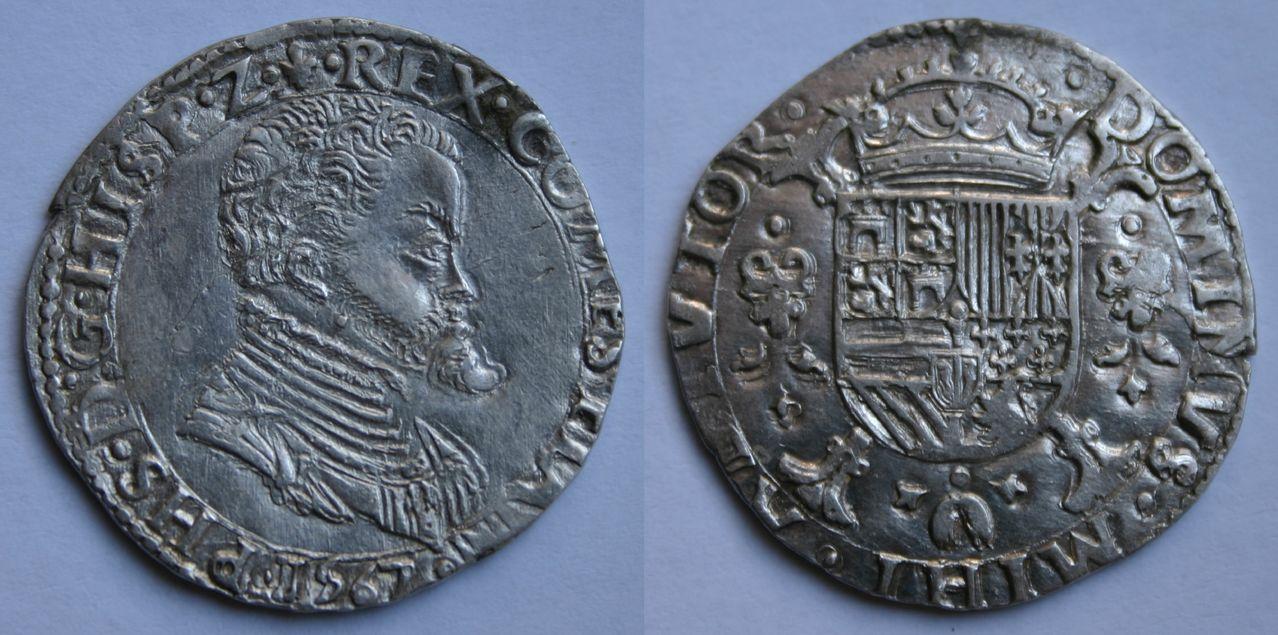 1/5 tálero 1567. Felipe II. Brujas (Flandes) 5e_Philipsdaalder_Vlaanderen
