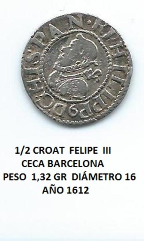 1/2 croat de Felipe III año 1612, Barcelona. Image