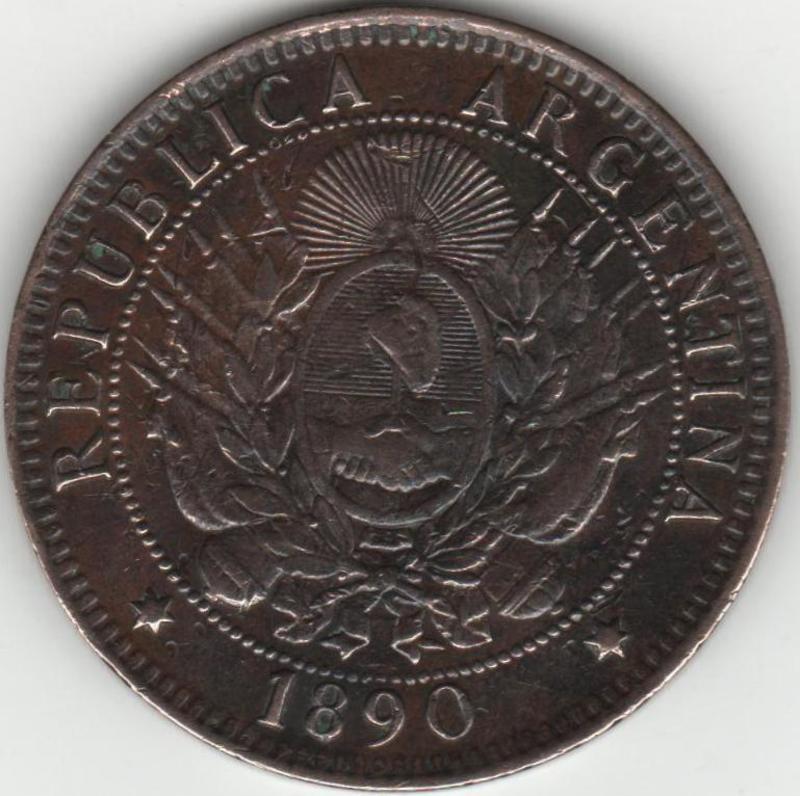 LA MONEDA DEL PRIMER DEFAULT ARGENTINO - 2 CENTAVOS MONEDA NACIONAL REVERSO_1890_ARGENTINA