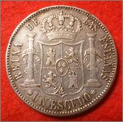 UN ESCUDO ISABEL II 1868 MADRID Falsa_isabel_rever