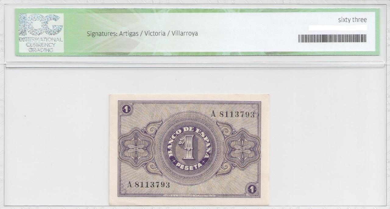 Colección de billetes españoles, sin serie o serie A de Sefcor 38_febrero_reverso