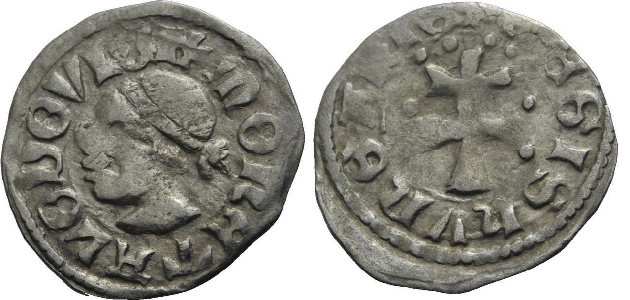 Denar de Luis I de Hungría. 1372-82 d C. Dinero_luis_i