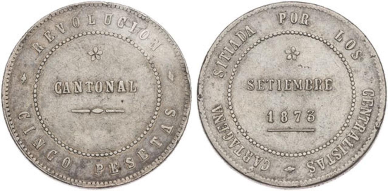 5 Pesetas 1873. Revolución Cantonal. Cartagena PROY_000137_2830