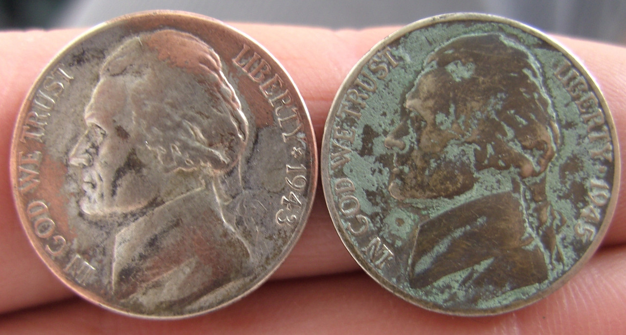 Monedas de 5 centavos Estadounidenses 1943 - 1945 BILD3788