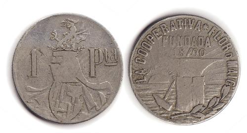 1 peseta de la Cooperativa la Flor de Maig. 12121