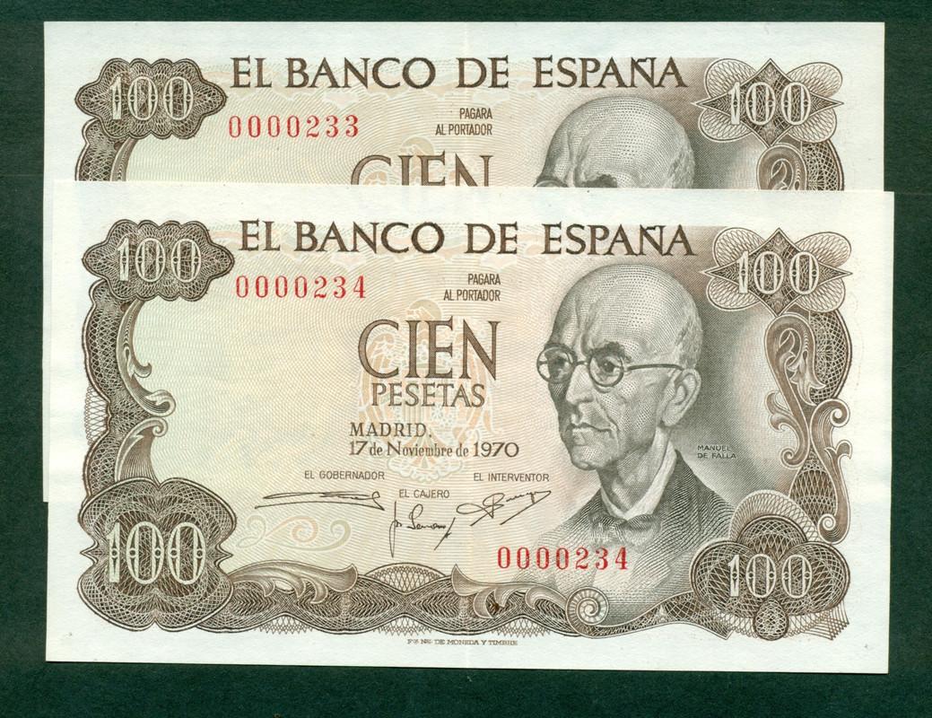 Interesante pareja correlativa de 100 pesetas de 1970. Número bajo. Pareja_de_falla_n_mero_bajo