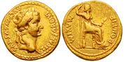 Aureo de Tiberio. PONTIF MAXIM. Livia sedente a dcha. Ceca Lugdunum. Au4_bis