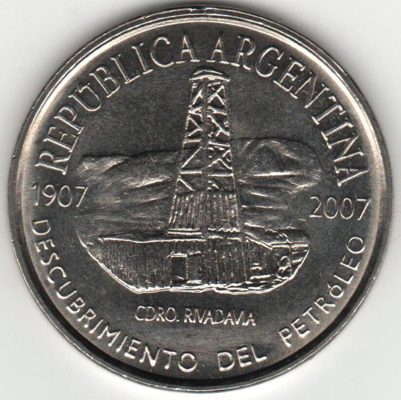 Moneda CONMEMORATIVA del centenario del DESCUBRIMIENTO DEL PETROLEO EN ARGENTINA.  ANVERSO_PETROLEO