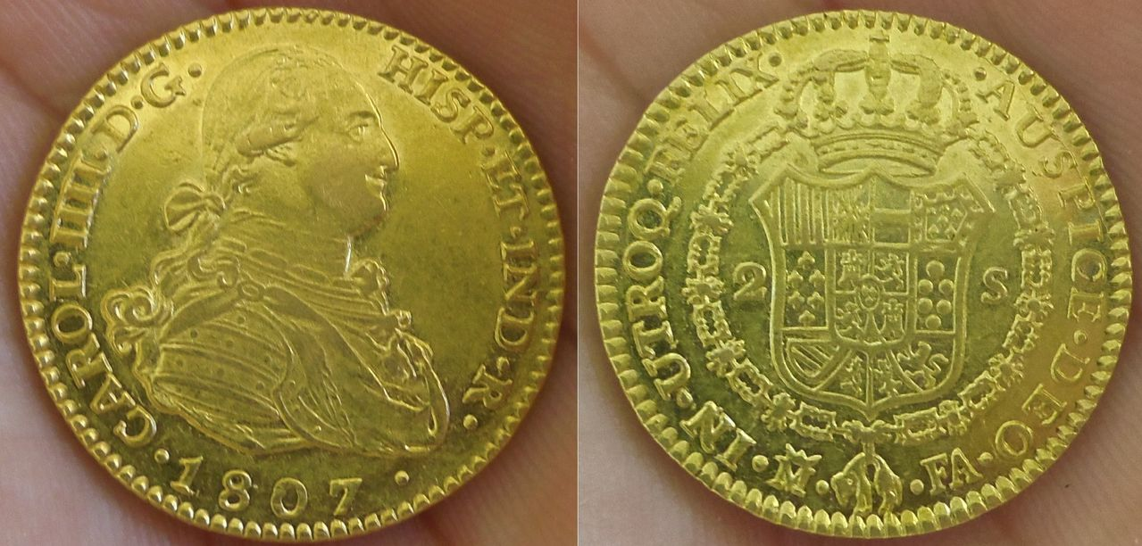 2 Escudos. Carlos IV. 1807. Madrid. SC. Dedicada a Gvstavvs Carolvs. IMGP3740