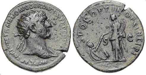 Dupondio de Trajano. S P Q R OPTIMO PRINCIPI - S C. Pax estante a izq. Roma. Image