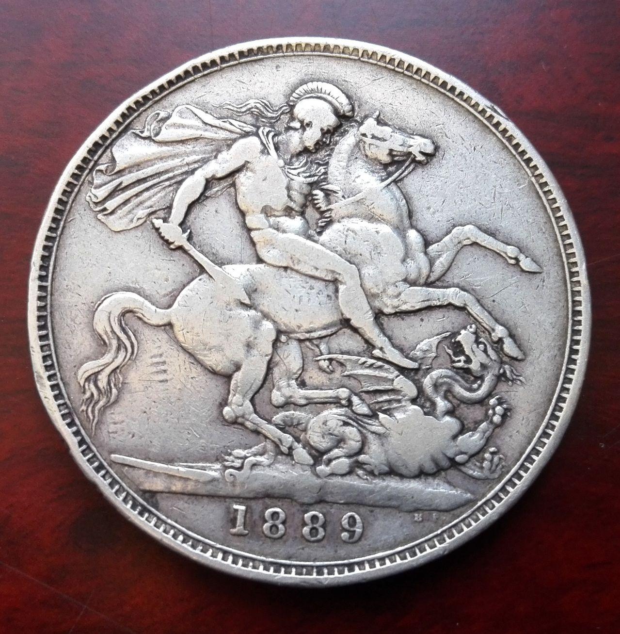 1 corona 1889, Reino Unido  1_corona_1889_3