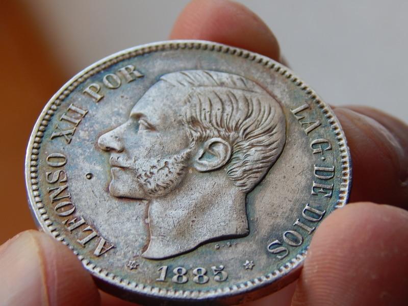 5 pesetas 1885 (18* 87*). Alfonso XII DSCN2398