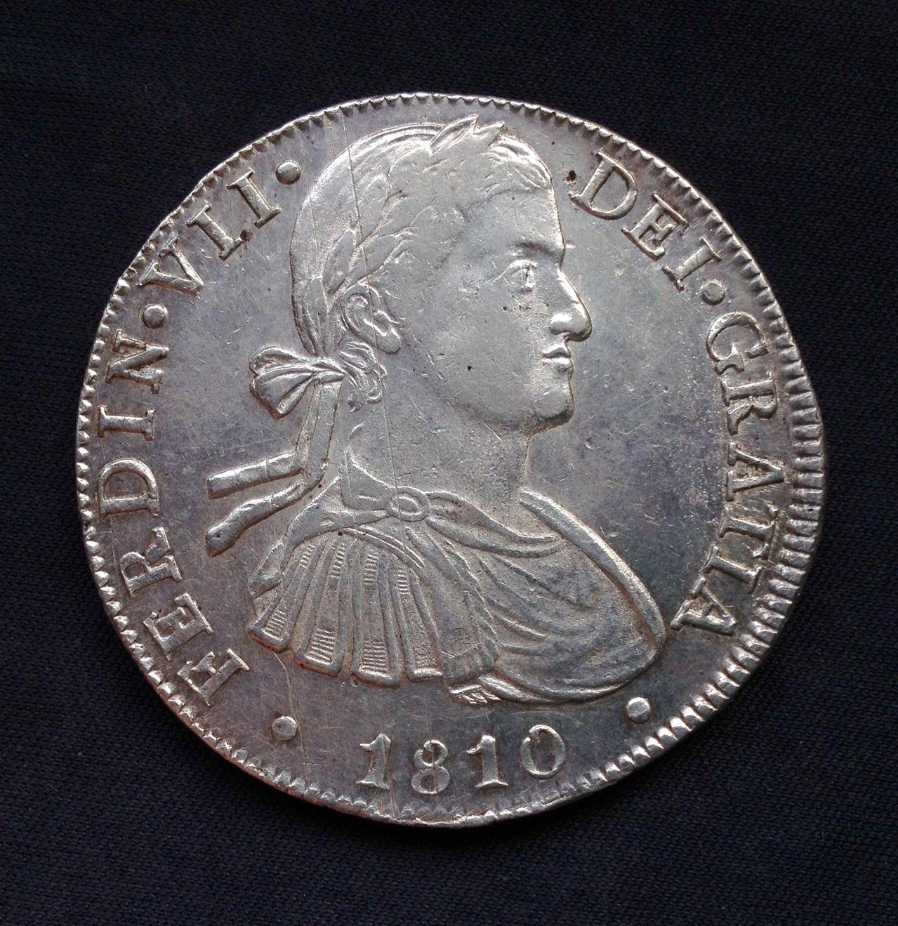 8 reales 1810 MO-HJ Busto Imaginario. Fernando VII - Anmem dedit. Image