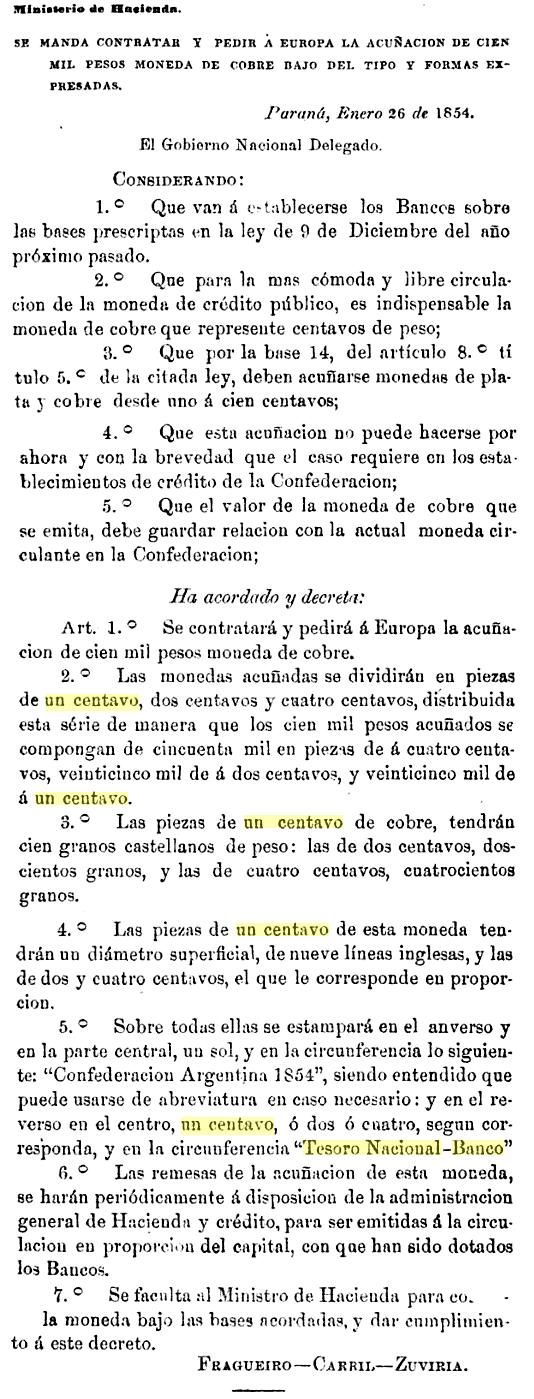 Un centavo. Argentina. 1854. TESORO NACIONAL. Pedido_de_monedas_Argentinas_Tesoro_Nacional