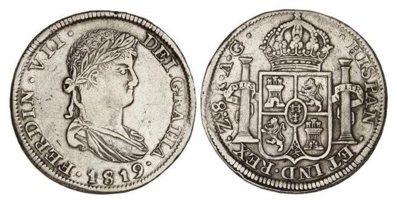 Fernando VII. real de a 8. 1819. A.G. Zacatecas. Image