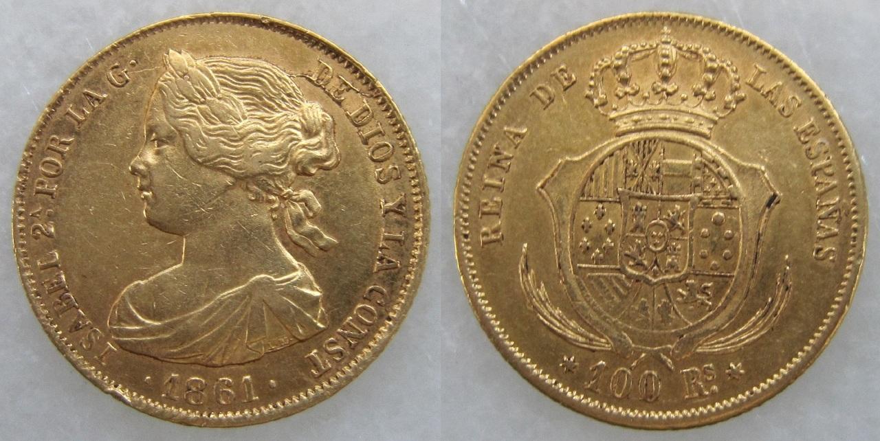 100 Reales 1861. Isabel II. Madrid. 100_reales_1861_Isabel_II