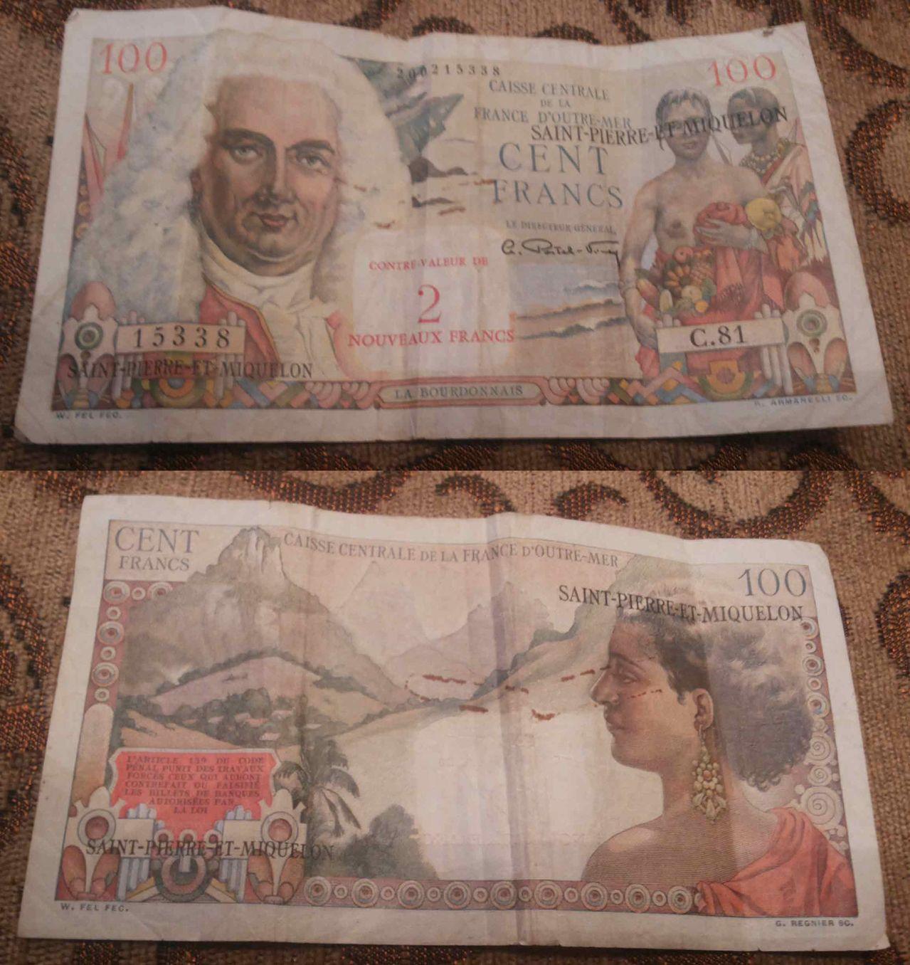 billetes Saint Pierre et Miquelon Cien_francos