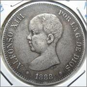 5 pesetas 1888 MPM  DSC08229