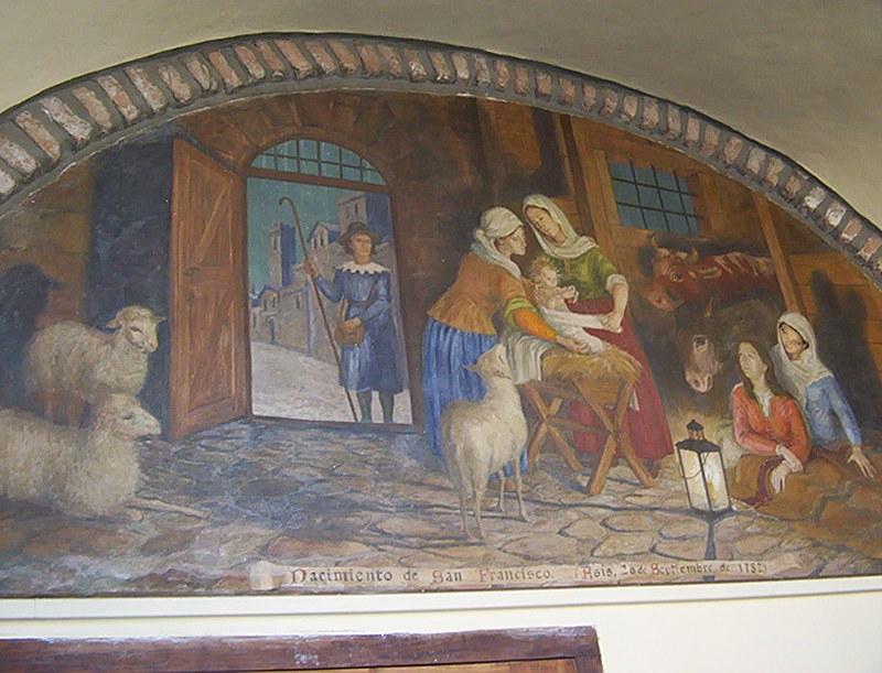 UNA VISITA AL MUSEO DEL CONVENTO DE SAN FRANCISCO SALTA Mural_nacimiento_de_san_francisco_en_pasillos_de