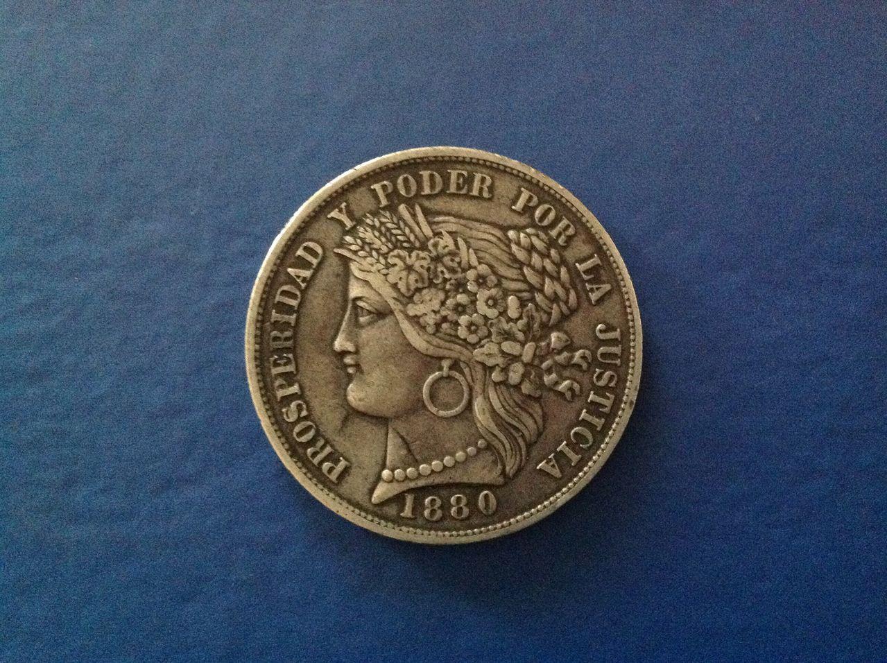5 pesetas 1880 Peru Image