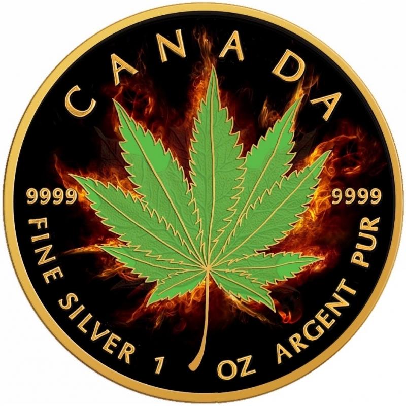 ¿Cuál es la moneda más fea de 2017? Hoja-de-arce-marihuana-indica-ardiendo-c5-1oz-moneda-plata-y-ban