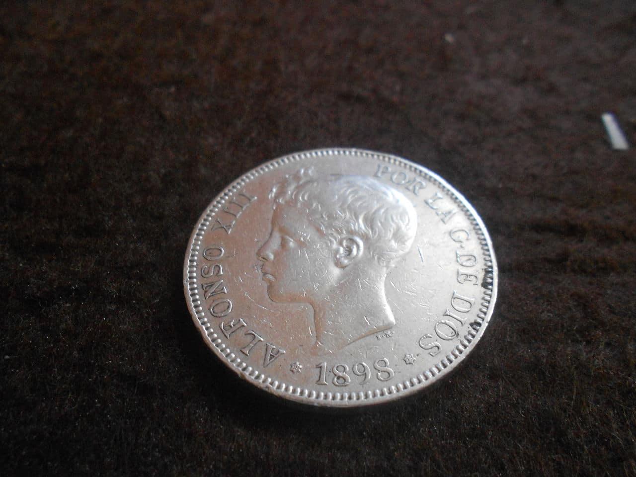5 pesetas 1898 *98 Alfonso XIII - exceso de peso - DSCN1767