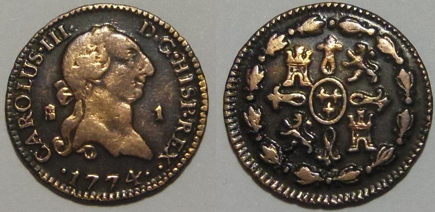 1 maravedí 1774. Carlos III. Segovia. Bonita patina de monetario. IMGP3391