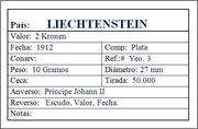 LIECHTENSTEIN; 2 Kronen 1912 Liechtenstein_2_Kronen_1912_Ficha
