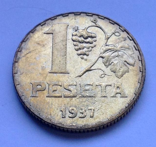 1 peseta 1937 Segunda República Image