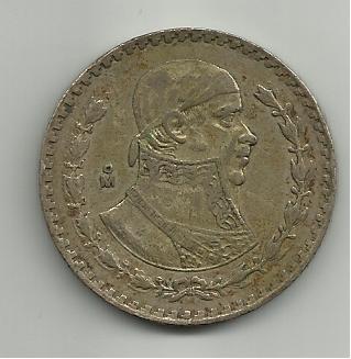 Un peso  mejicano 1963 José Morelos 1_peso_mejico_1963_anver