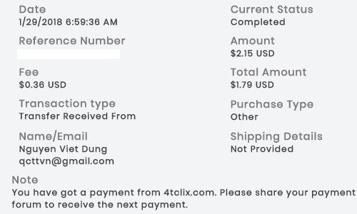 1º Pago de 4TClix ( $2,15 ) 4tclixpayment