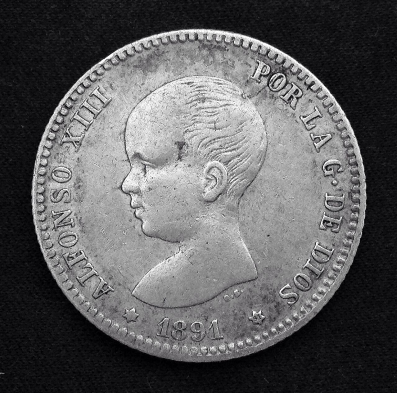 1 peseta 1891 Alfonso XIII Image