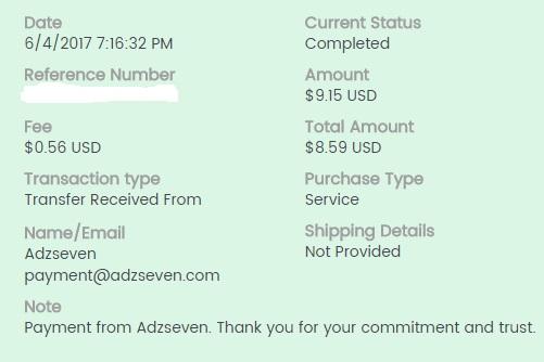 6º Pago de Adzseven ( $9,15 )   Adzsevenpayment