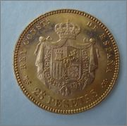25 Pesetas 1881*18-81 Alfonso XII Image