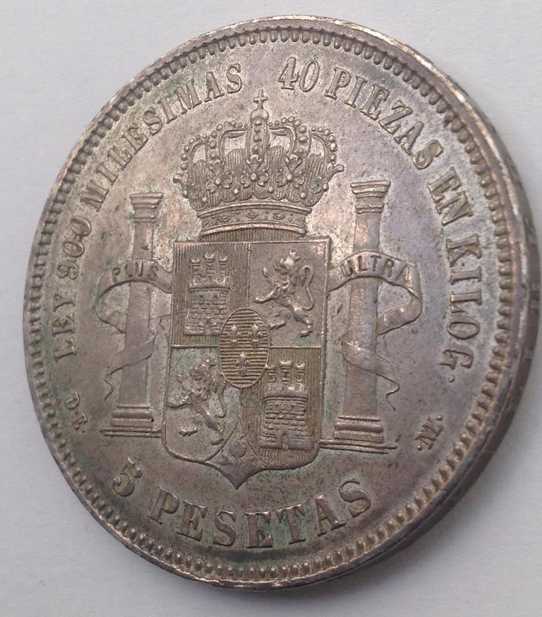 5 Pesetas 1875. Alfonso XII. Dedicada a Estrella76, Diafebus y anmem. Image