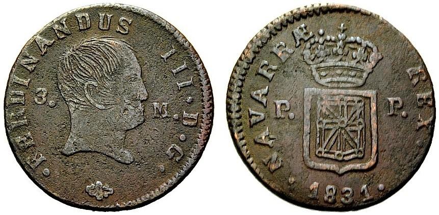 NAVARRA - Fernando III - 3 Maravedis - 1831 - Pamplona Image