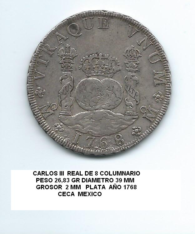8 reales de Carlos III, México. 1768. Tipo columnario. Real_de_8_9