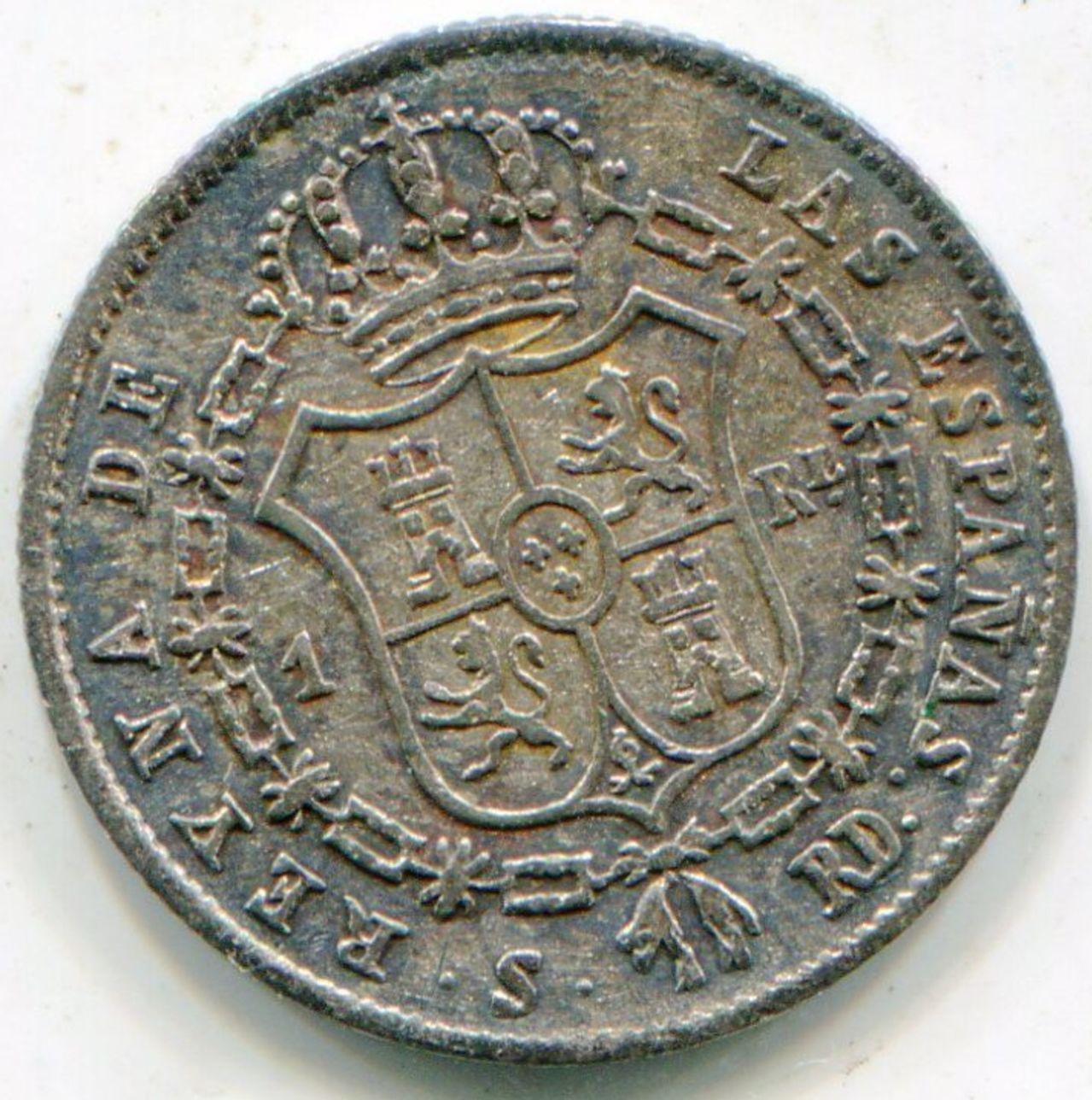 1 Real. Isabel II. 1850. RD. Sevilla. Segundo busto. DEDICADA A JAVI. Image