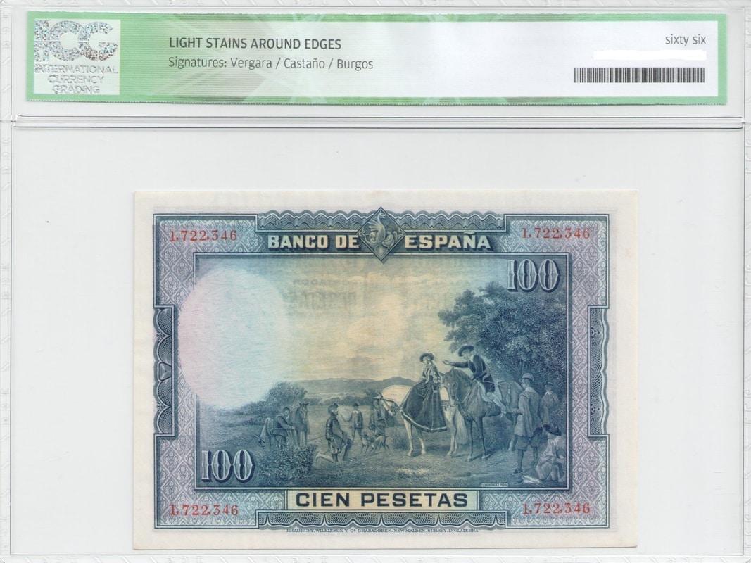 Colección de billetes españoles, sin serie o serie A de Sefcor Cervantesreverso