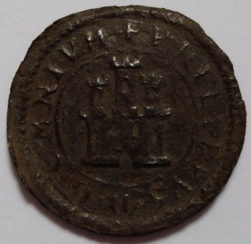 2 maravedís tipo Omnium de Felipe II, Segovia. 1598. 2_Maravedis_Segovia_1598_A_serie_vellon_pobre