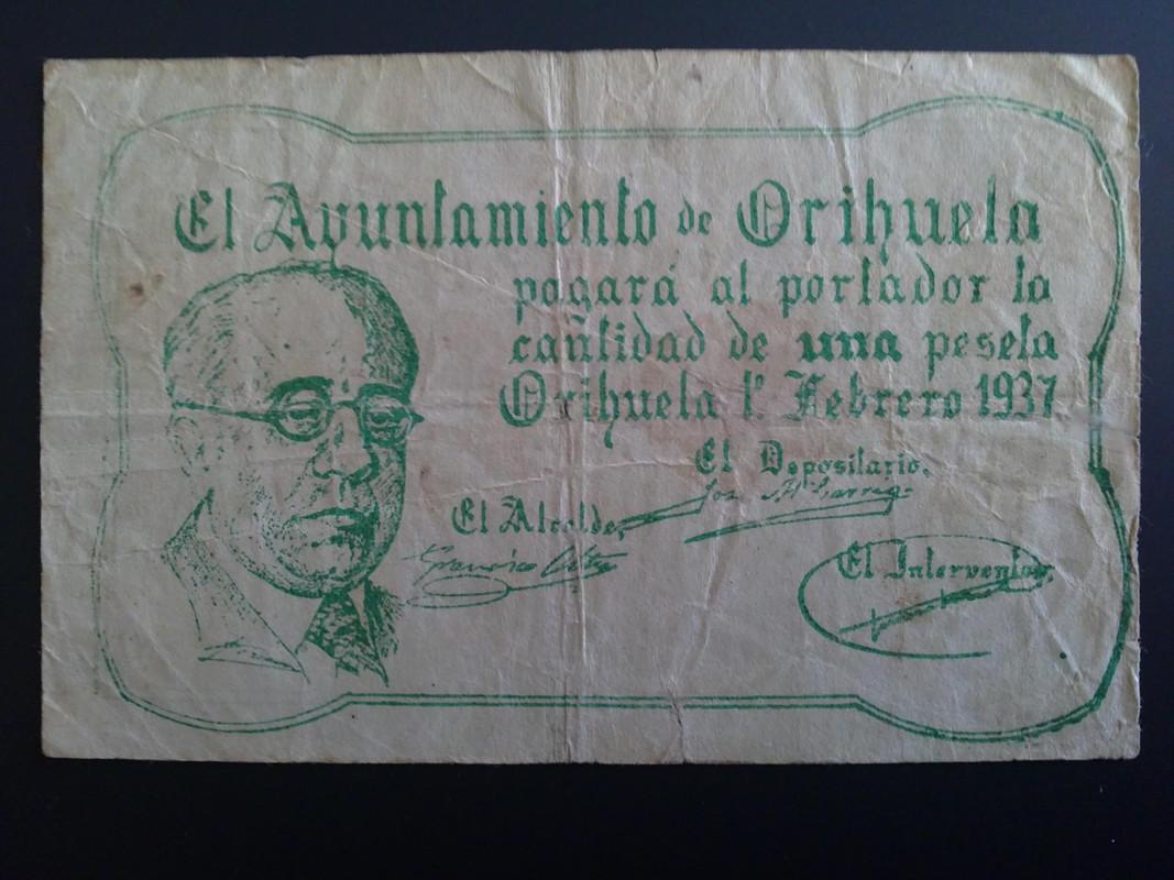 1 Peseta Orihuela (Alicante) Serie 4, Febrero 1937 01022013015