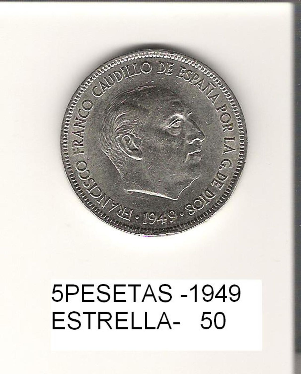 5 Pesetas 1949 (* 19-50). Francisco Franco. Estado Español. 5_PESETAS
