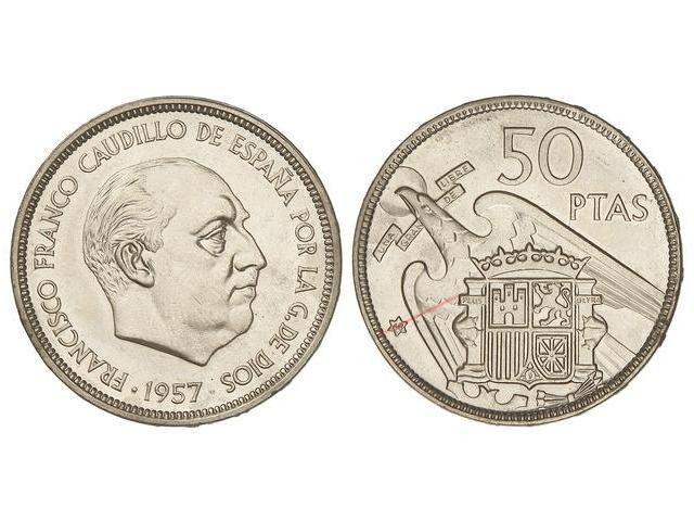 50 pesetas 1957 (*68). Estado Español. Troquelada 2676245