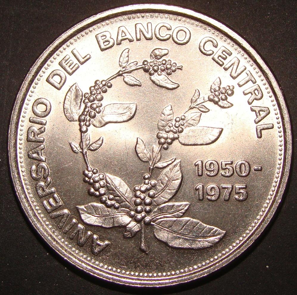 5 Colones. Costa Rica (1975). 25º Aniversario del Banco Central CRC_5_Colones_25_Aniv_Banco_Central_rev