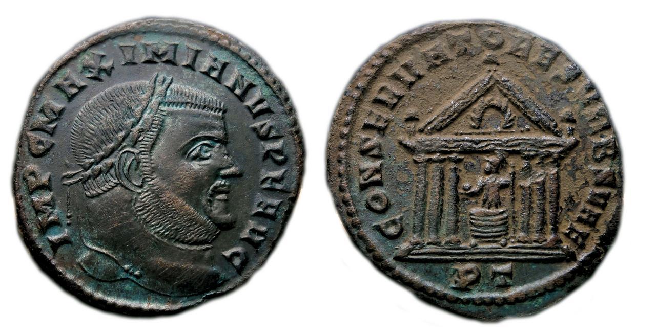 Nummus de Maximiano Hércules. CONSERVATORES VRB SVAE. Roma sedente dentro de templo hexástilo. Ticinum. Sin_t_tulo-01